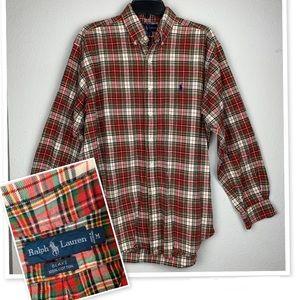 Ralph Lauren Red Plaid Flannel Shirt Tartan Blake